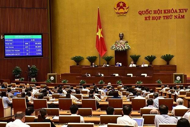 Các thành viên của Quốc hội Việt Nam trong phiên bỏ phiếu thông qua dự luật An ninh mạng tại Hà Nội vào ngày 12 tháng 6 năm 2018.