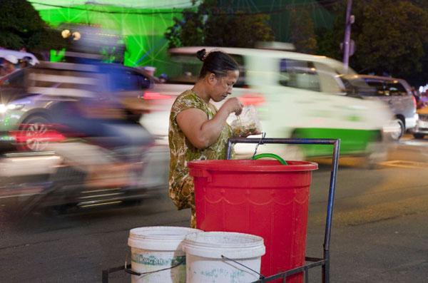 Một người bán dạo trên đường phố Sài Gòn hôm 30/11/2013