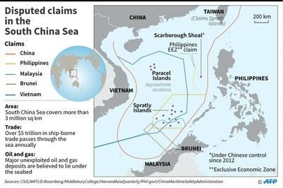 Bản đồ Biển Đông có đường lưỡi bò mà Trung Quốc tự vẽ ra trên biển