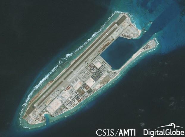 Hình chụp vệ tinh Đá Chữ Thập ở Trường Sa