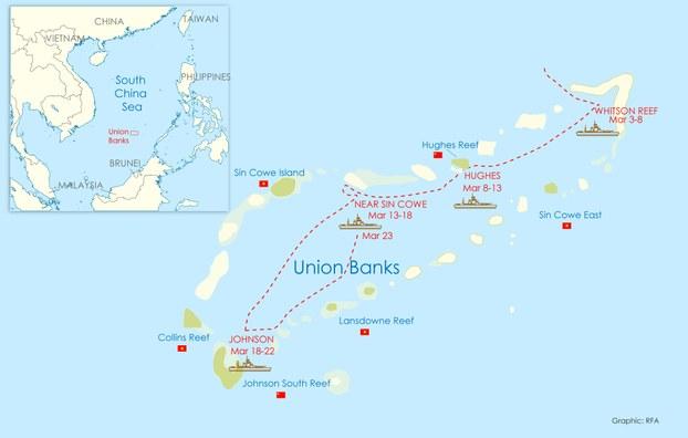 Bản đồ hiển thị đường đi của 5 tàu dân quân hàng hải Trung Quốc thông qua cụm đảo sinh tồn ở quần đảo Trường Sa trong ba tuần đầu tháng 3.