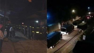 Hình ảnh lan truyền trên mạng xã hội cho thấy đông đảo lực lượng cơ động đang tiến về thôn Hoành, xã Đồng Tâm, huyện Mỹ Đức, ngoại thành Hà Nội sáng sớm ngày 9/1/2020.