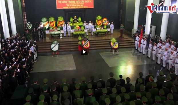 Quang cảnh lễ truy điệu 3 chiến sĩ công an thiệt mạng ở Đồng Tâm, diễn ra trong ngày 16/01/2020.