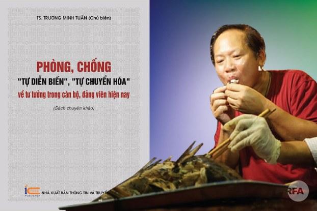 Ảnh minh họa: cựu bộ trưởng Trương Minh Tuấn ăn cá Formosa và sách ông chủ biên.
