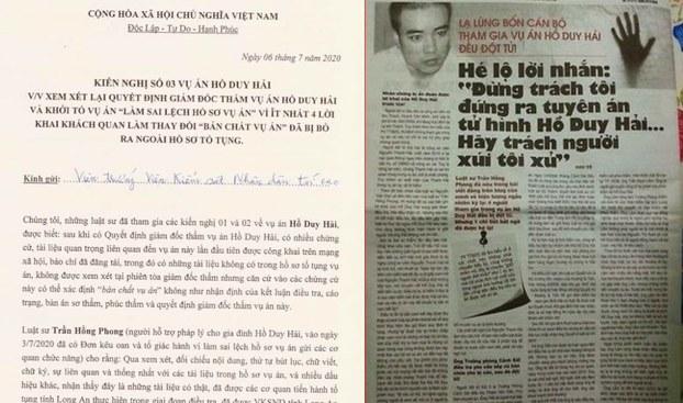 Bản Kiến nghị 3 về vụ án tử tù Hồ Duy Hải.