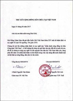 Hội Đồng Giám Mục Việt Nam vừa gởi đến Quốc hội bài nhận định qua đó bày tỏ quan điểm về Luật Tín Ngưỡng,Tôn Giáo 2016 đã được thông qua và sẽ có hiệu lực năm từ 2018.