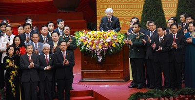 Hình minh họa. Tổng Bí thư Nguyễn Phú Trọng phát biểu tại lễ bé mạc đại hội đảng 12 vào ngày 28/1/2016 ở Hà Nội