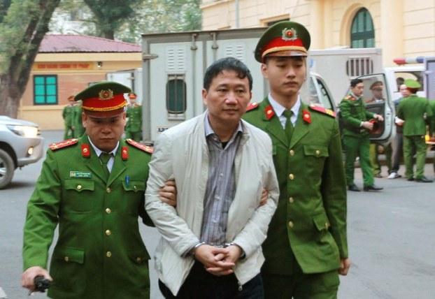 Ông Trịnh Xuân Thanh ra tòa tại Hà Nội, đầu năm 2018.