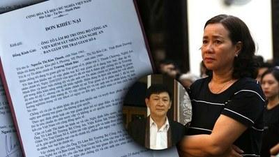 Bà Nguyễn Thị Kim Thanh, vợ của tù nhân chính trị Trương Minh Đức gửi đơn khiếu nại đến Bộ Công an và Viện Kiểm sát Nhân dân Nghệ An ngày 23/06/19.