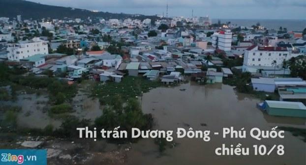 Phú Quốc chìm trong nước sau cơn mưa do ảnh hưởng cơn bão số 3.