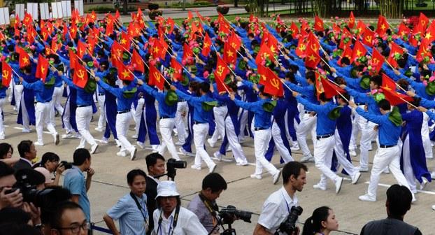 Đoàn viên Thanh niên Cộng sản Việt Nam diễu hành vào ngày 2/9/2015