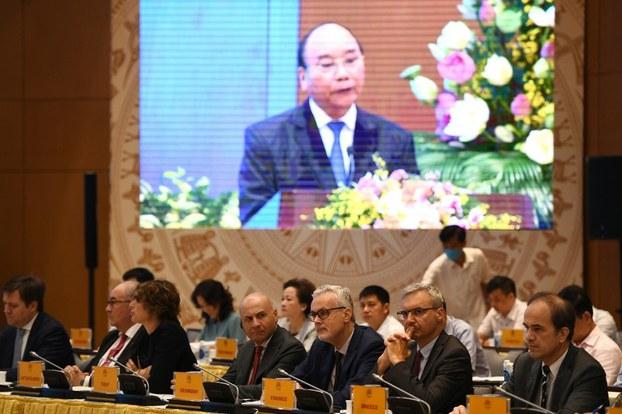Ảnh minh họa. Thủ tướng Nguyễn Xuân Phúc phát biểu tại cuộc họp trực tuyến về kế hoạch thực hiện Hiệp định VFTA. Hình chụp ngày 6/8/2020.