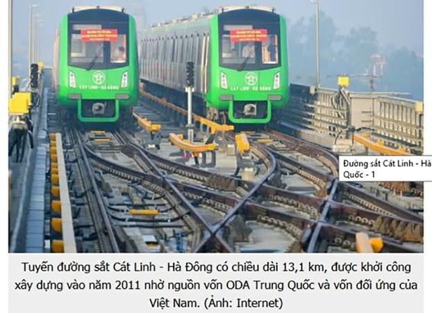 Dự án đường sắt Cát Linh-Hà Đông, do nhà thầu Trung Quốc thực hiện bị chậm tiến độ ít nhất đã 10 lần.