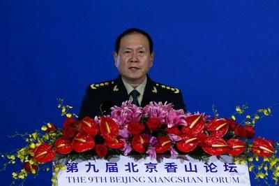 Bộ trưởng Quốc phòng Trung Quốc Ngụy Phượng Hòa tuyên bố các đảo ở Biển Đông là những phần không thể tách rời của lãnh thổ Trung Quốc, tại Diễn đàn Hương Sơn Bắc Kinh lần thứ 9, ngày 21/10/19.