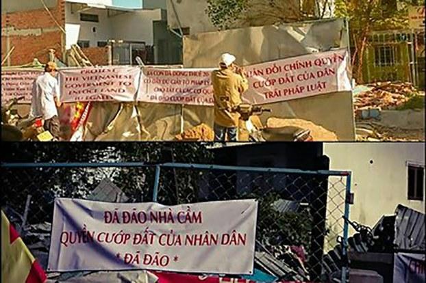 Cư dân vườn rau Lộc Hưng căng biển phản đối chính quyền cưỡng chế đất.