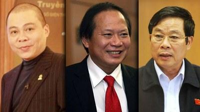 Hai ông cựu Bộ trưởng Trương Minh Tuấn (ở giữa) và Nguyễn Bắc Son (bìa phải) tham nhũng số tiền hơn 6 triệu USD trong thương vụMobifon mua 95% cổ phần của AVG.