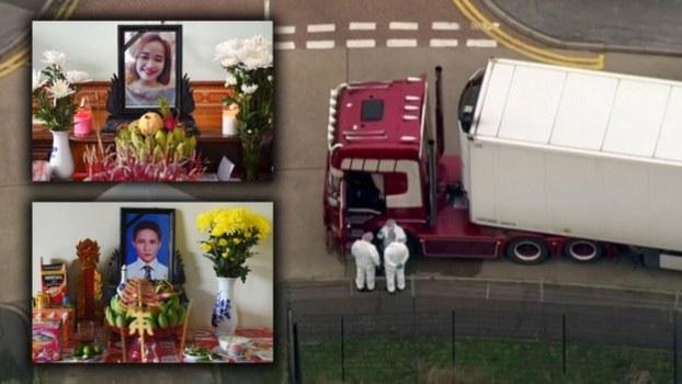 Ảnh hai nạn nhân chết ngạt và chiếc xe tải chở họ