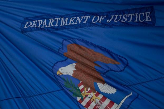 Hình minh hoạ. Cờ của Bộ Tư pháp Mỹ ở Washington DC.