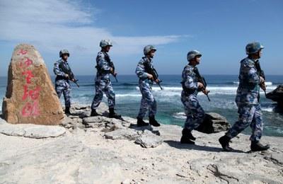 Hình minh hoạ. Lính Trung Quốc đi tuần ở đảo Phú Lâm, quần đảo Hoàng Sa