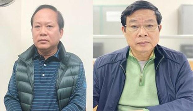 Cựu Bộ trưởng Thông Tin Truyền thông Trương Minh Tuấn (trái) và Nguyễn Bắc Son