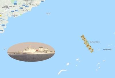 Hình minh họa. Bản đồ cho thấy đường đi của tàu khảo sát HD 8 của Trung Quốc ở vùng biển của Việt Nam trong tháng 7/2019