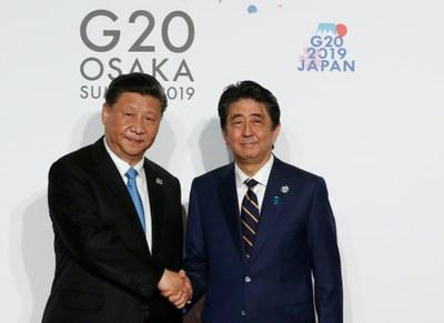 Hình minh hoạ. Thủ tướng Nhật Bản Shinzo Abe và Chủ tịch Trung Quốc bên lề Thượng đỉnh G20 ở Nhật Bản hôm 28/6/2019