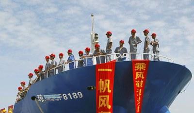 Hình minh hoạ. Hình chụp hôm 6/5/2013 - một tàu của Trung Quốc chuẩn bị đi ra quần đảo Trường Sa