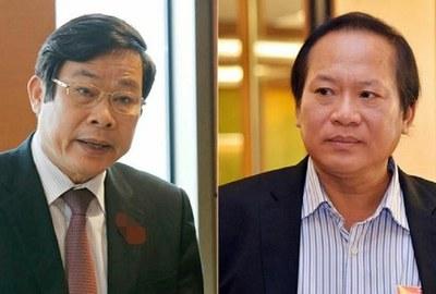 Cựu Bộ trưởng Thông tin Truyền thông Nguyễn Bắc Son (bên trái) và Trương Minh Tuấn