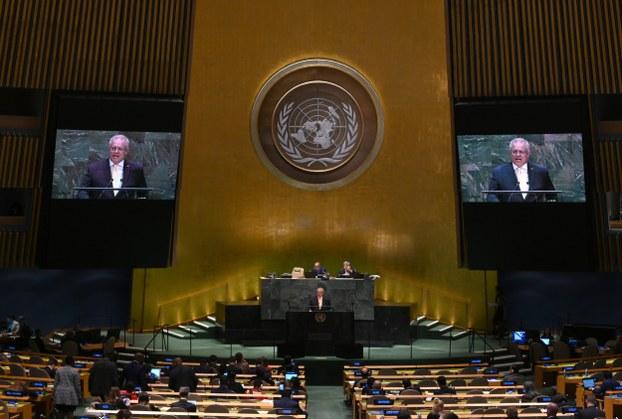Hình minh hoạ. Thủ tướng Úc Scott Morrison phát biểu tại Đại hội đồng Liên Hợp Quốc hôm 25/9/2019 ở New York