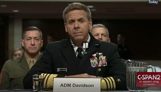 Ảnh minh họa: Đô đốc Philip Davidson tại buổi điều trần trước Ủy ban Quân vụ Thượng viện Mỹ vào ngày 12/02/19.