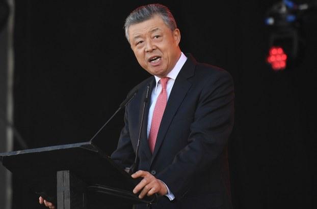 Đại sứ TQ tại Anh, ông Lưu Hiểu Minh, phát biểu vào dịp tết âm lịch ở London năm 2018