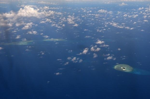Hình minh hoạ. Hình chụp vệ tinh các bãi ở khu vực quần đảo Trường Sa ở Biền Đông hôm 21/4/2017