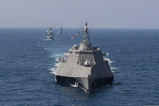 Ảnh minh họa. Hình chụp hôm 4/9/2019 của Hải quân Mỹ: tàu USS Montgomery trong cuộc tập trận giữa Mỹ và ASEAN ở vịnh Thái Lan.