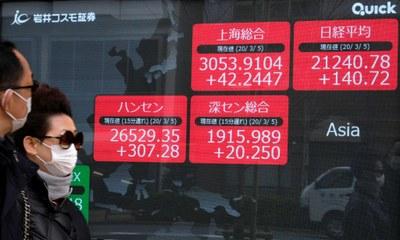 Gía cổ phiếu Nikkei tại Nhật và cổ phiếu tại các thị trường khác ở cháu Á tăng vào ngày 5/03/20.