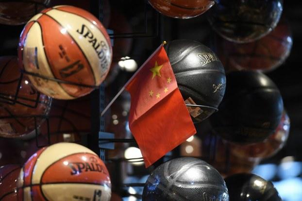 Cờ Trung Quốc trong cửa hàng của Hiệp hội bóng rổ NBA tại Bắc Kinh vào ngày 9 tháng 10,2019