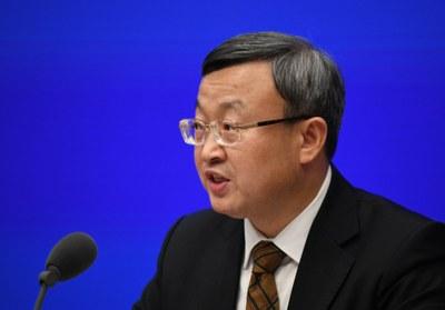 Ông Wang Showen,Thứ trưởng bộ Thương mại Trung Quốc, Phó Đại diện Thương mại Quốc tế  phát biểu trong cuộc họp báo  tại Bắc Kinh hôm 13 tháng 12,2019.