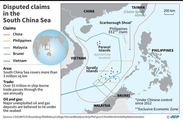 Hình minh hoạ. Bản đồ Biển Đông có đường lưỡi bò mà Trung Quốc tự vẽ ra trên biển