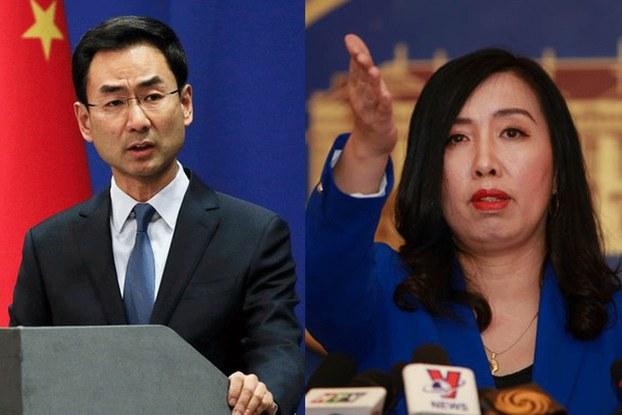 Hình minh họa. Phát ngôn viên Bộ Ngoại giao Trung Quốc Cảnh Sảng (bên trái) và phát ngôn nhân Bộ Ngoại giao Việt Nam Lê Thị Thu Hằng (bên phải)