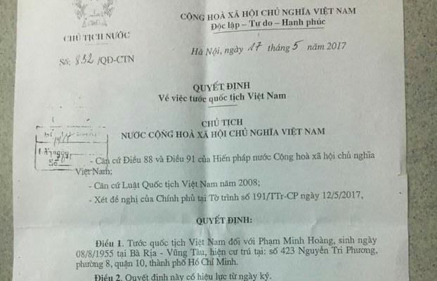 Văn bản tước quốc tịch VN của GS Phạm Minh Hoàng