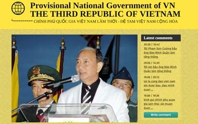 Hình chụp màn hình trang web của tổ chức chính phủ quốc gia VN lâm thời của ông Đào Minh Quân.