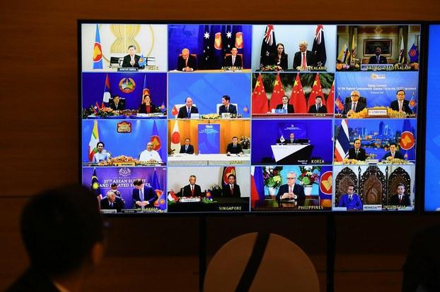 Ảnh minh họa. Đại diện các quốc gia tham dự Hội nghị Cấp cao ASEAN 37, do Việt Nam tổ chức trực tuyến. Hình chụp ngày 15/11/2020.