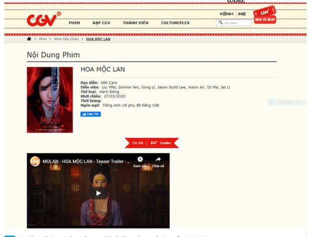 Quảng cáo phim Hoa Mộc Lan trên trang web của hãng CJ CGV