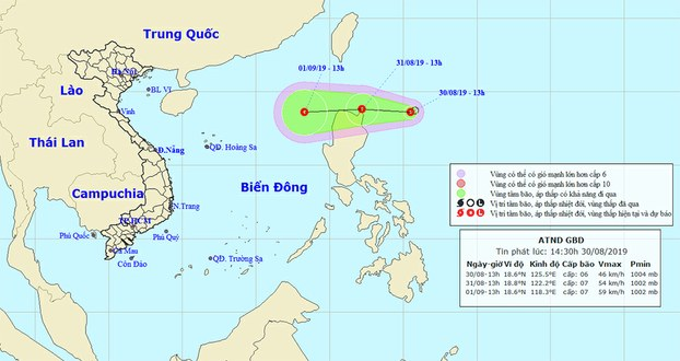Áp thấp nhiệt đới gần Biển Đông ngày 30/8/2919.