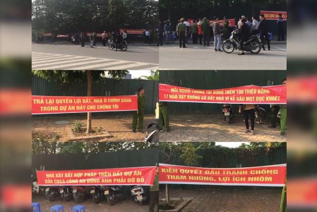Hình ảnh chụp lại từ video cho thấy hàng chục công an Đông Anh biểu tình đòi đất ngày 11/11/2019.