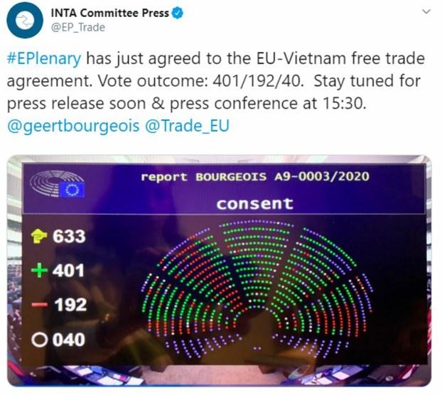 Kết quả bỏ phiếu EVFTA ở Nghị viện Châu Âu hôm 12/2/2020