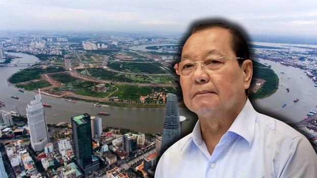 Hình minh họa. Ông Lê Thanh Hải và hỉnh ảnh Thủ Thiêm nhìn từ trên cao