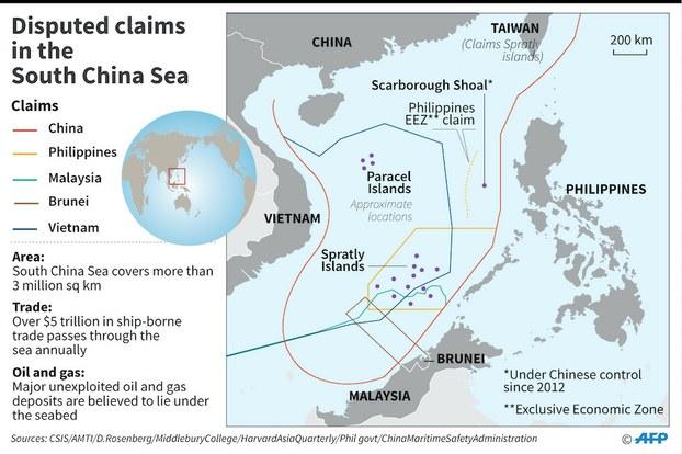 Hình minh hoạ. Bản đồ Biển Đông có đường lưỡi bò.