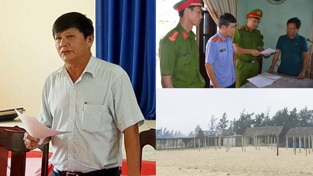 Ông Đinh Hùng Liên (trái) và một số cán bộ bị khởi tố.