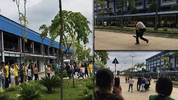 Các công nhân của công ty Golden Victory Việt Nam đang được đưa đi cấp cứu.