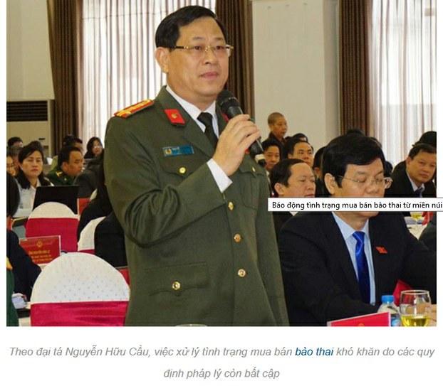 Giám đốc Công an tỉnh Nghệ An, Đại tá Nguyễn Hữu Cầu cảnh báo tệ nạn buôn bán bào thai sang Trung Quốc.